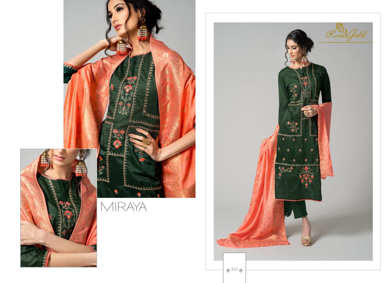 Rvee Gold Miraya Designer Heavy Embroidery Suit Wholesale