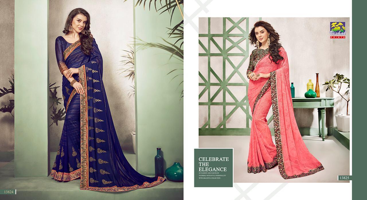 Vishal Georgette Designer Blouse Sarees Wholesale Lot