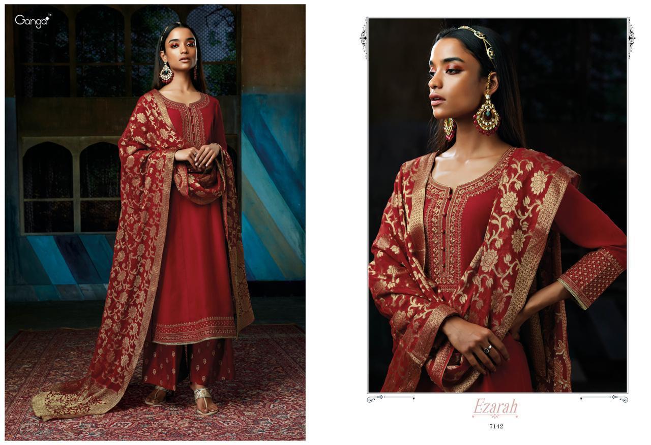 Ganga Ezarah Pure Silk Heavy Embroidery Suits Wholesale Box
