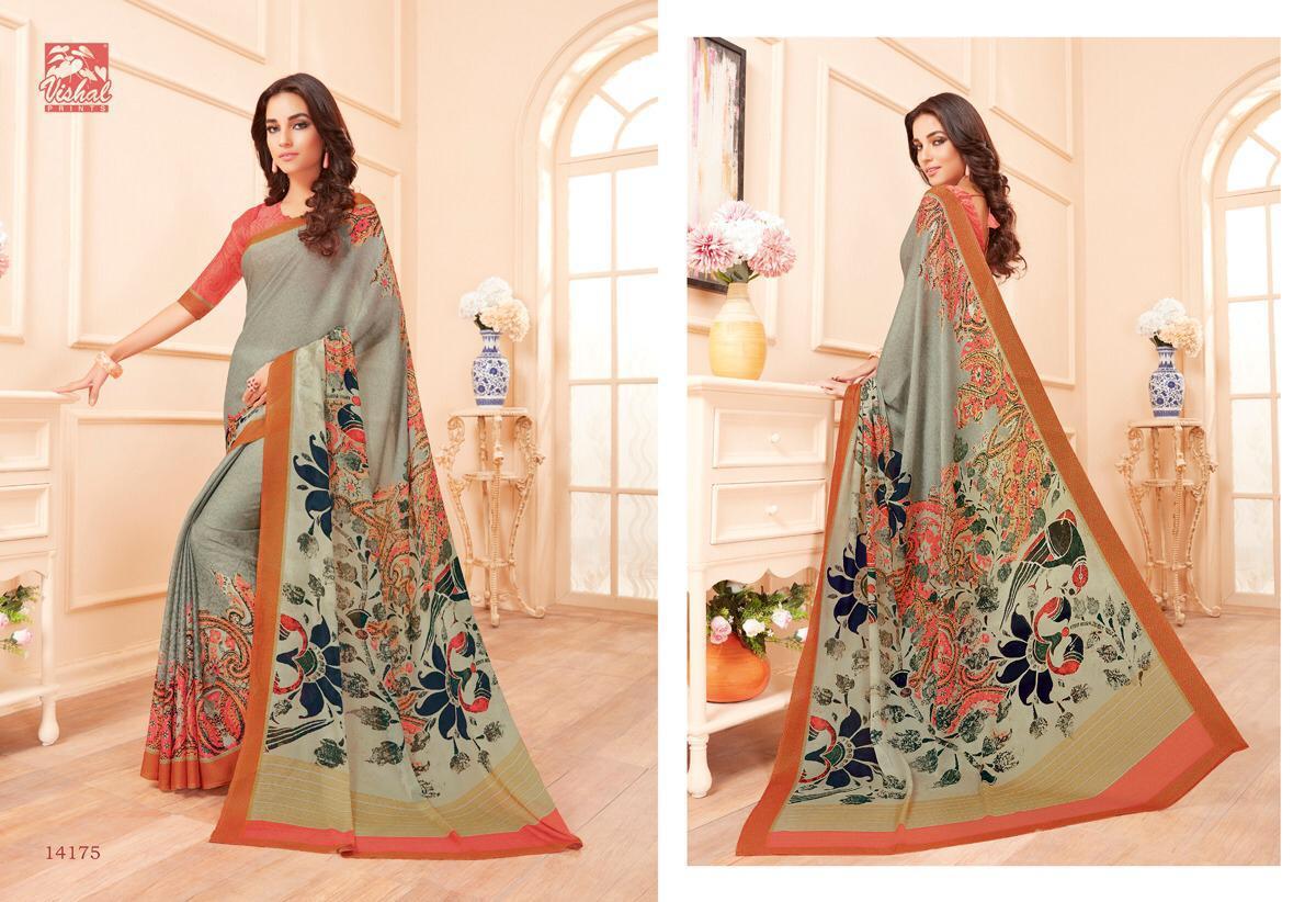 Vishal Prints Georgette Based Febric Sarees Wholesale Lot