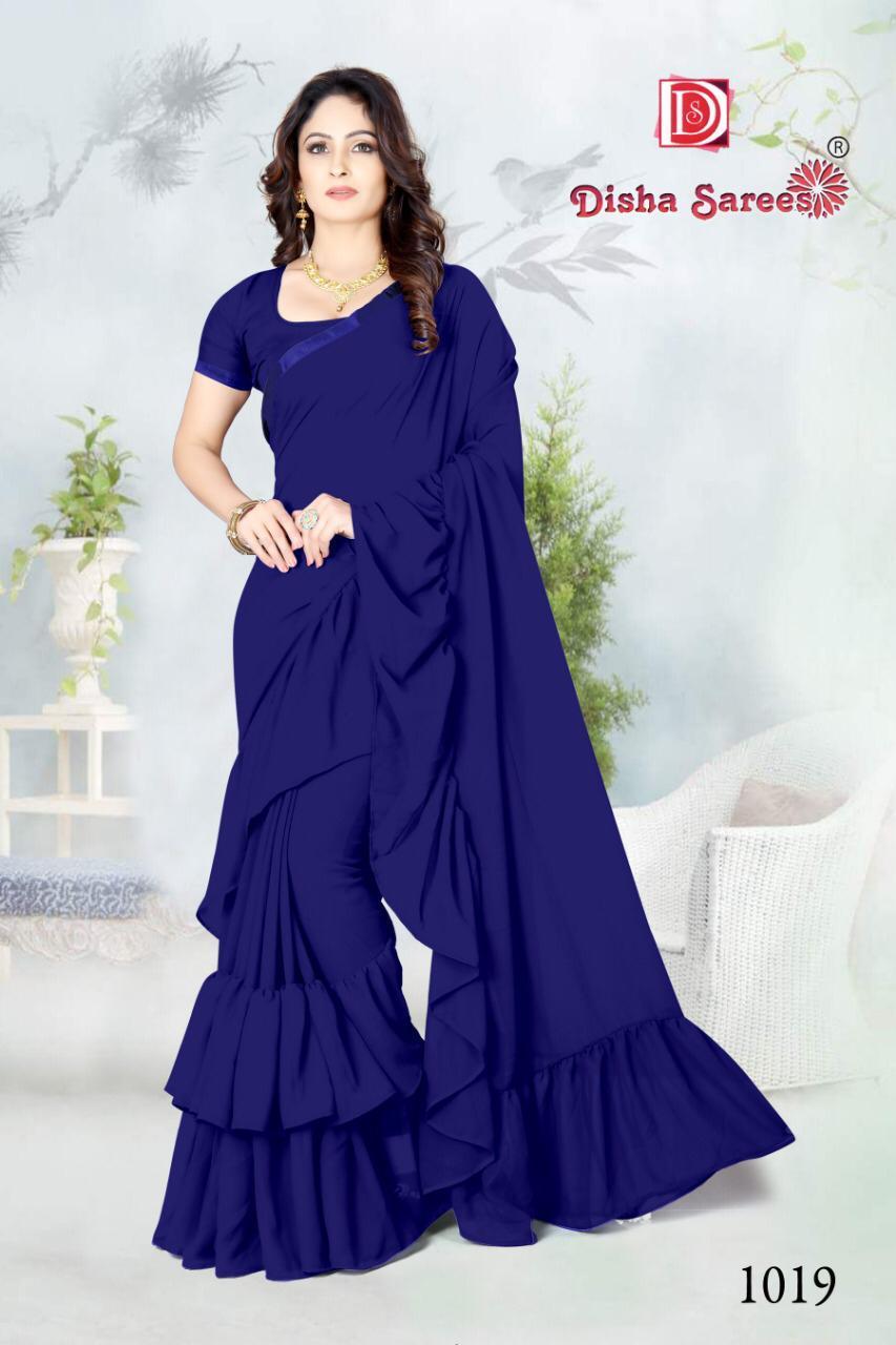 Disha Sarees Designer Frill Ruffel Partywear Wholesale