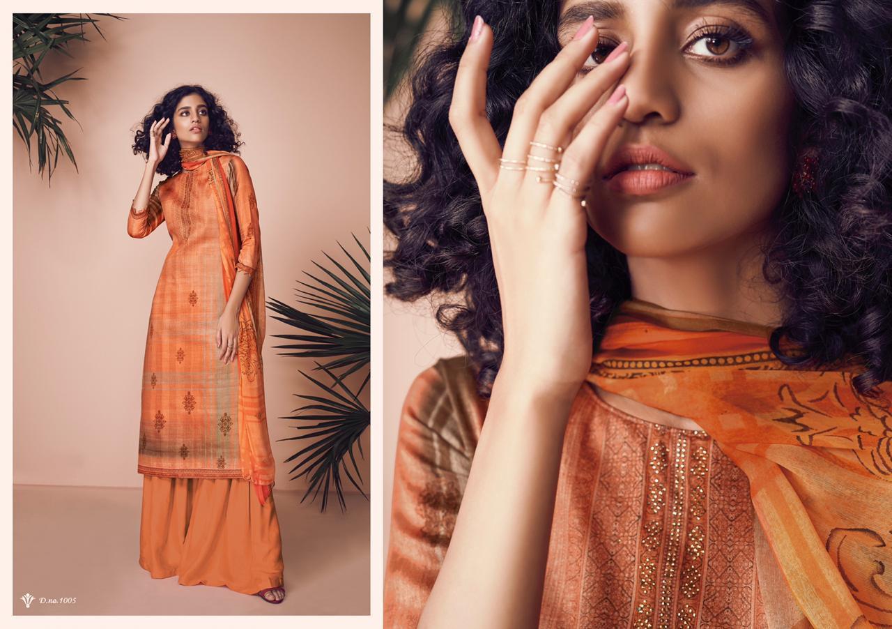 Karachi Prints Zara Designer Jam Silk Suits Wholesale