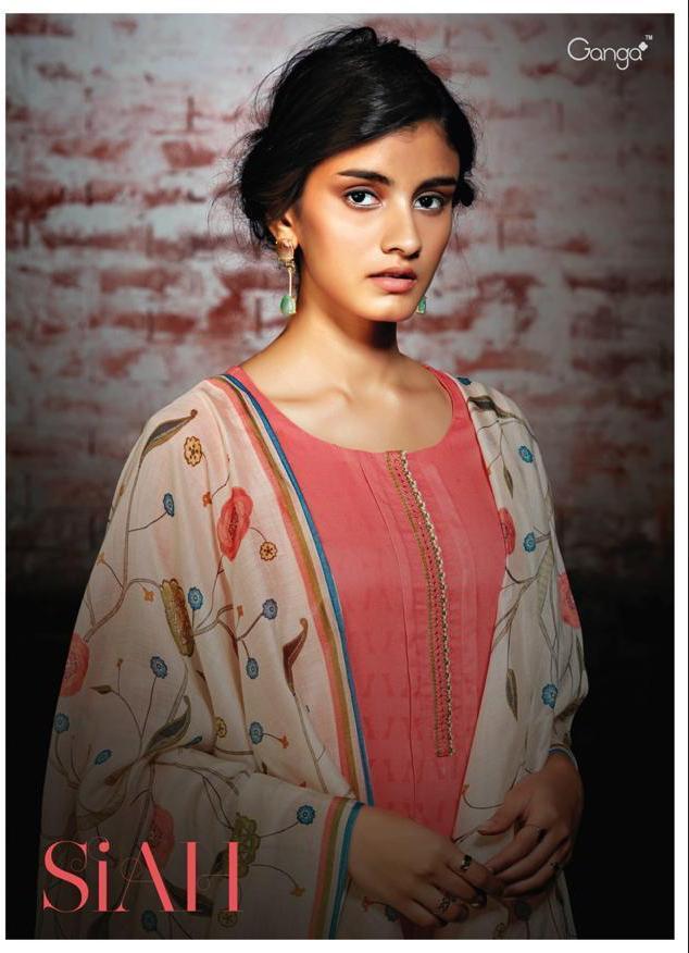 Ganga Siah Designer Lawn Embroidary Suit Best Wholesale Rate