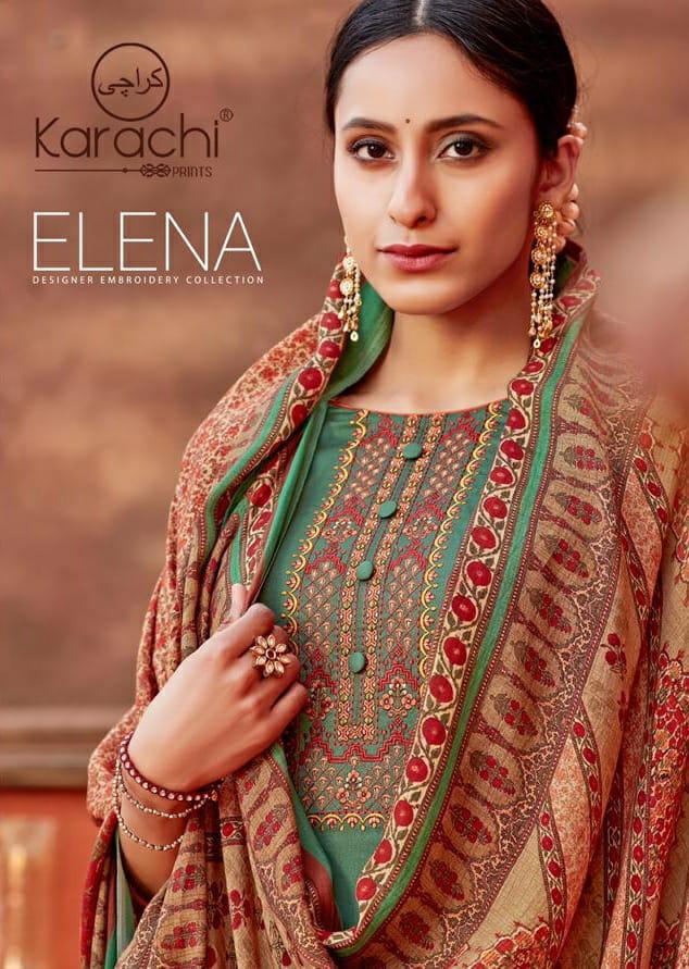 Karachi Prints Elena Jam Satin Designer Suits Wholesale