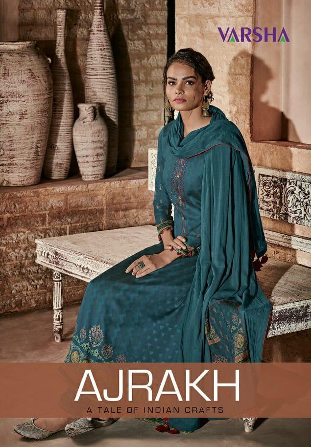 Varsha Fashion Ajrakh Printed With Handwork Suits Wholesale