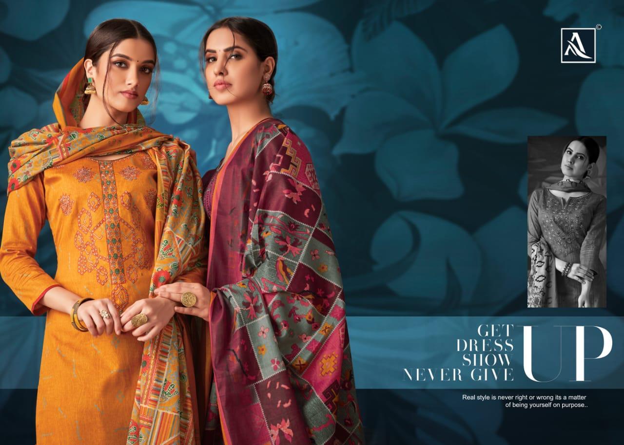 Alok Suit Nazrana Jam Satin Designer Suits In Wholesale