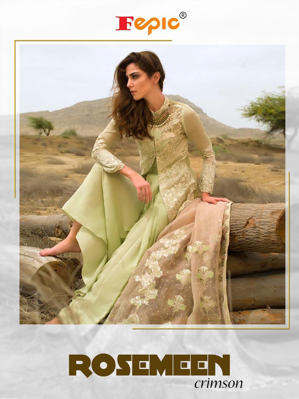 Fepic Rosmeen Crimson Designer Pakistani Suits Wholesale