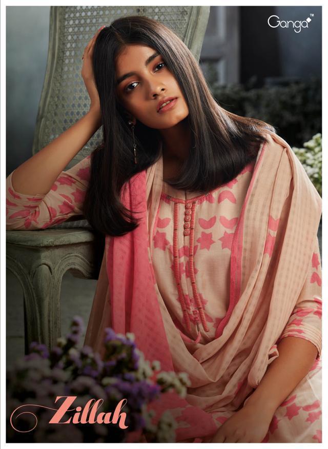 Ganga Zillah Designer Cotton Silk Embroidary Suits Wholesale