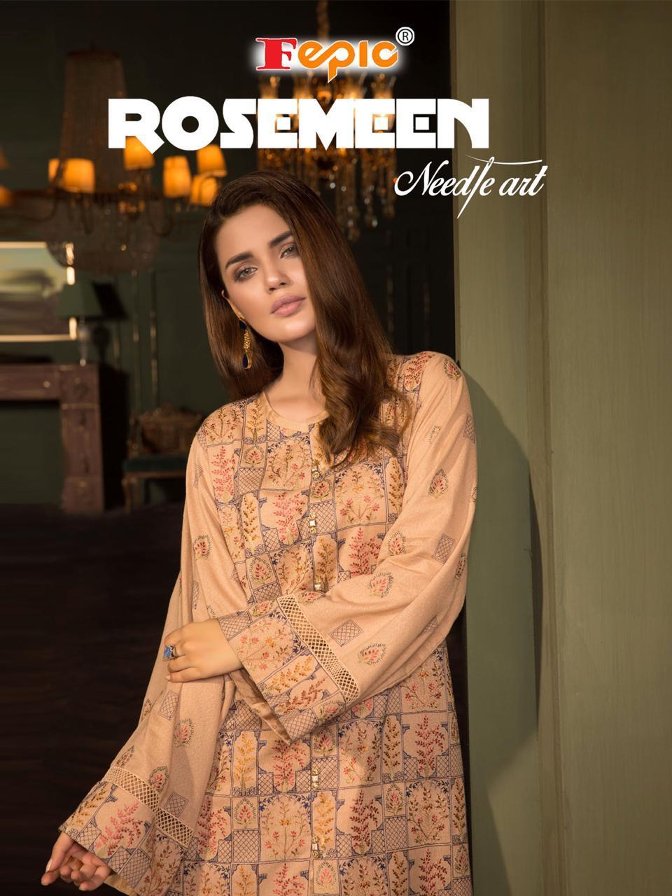 Fepic Rosmeen Needle Art Cambric Cotton Suits Wholesale Lot