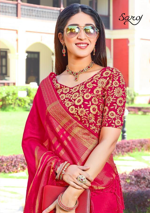 Saroj Silk Designer Cossa Two Tone Silk Sarees Wholesale