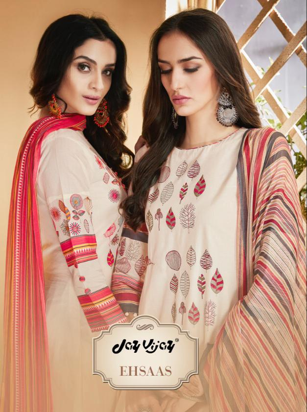 Jay Vijay Ehsas Cotton With Embroidary Suits Wholesale