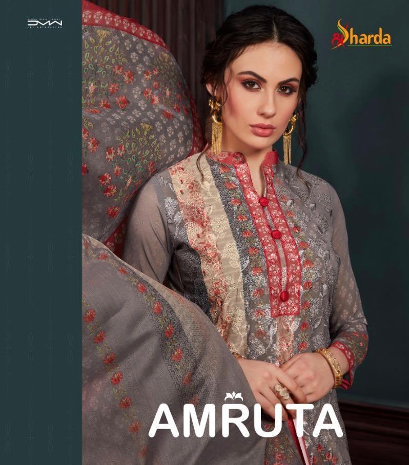 Sharda Amrut Designer Georgette Embroidary Suit Wholesale