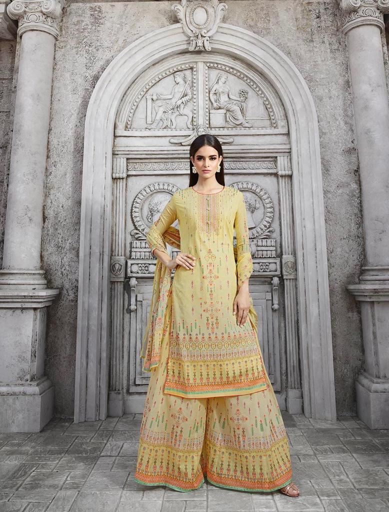 Glossy Marigold Designer Partywear Suit Best Wholesale Rate