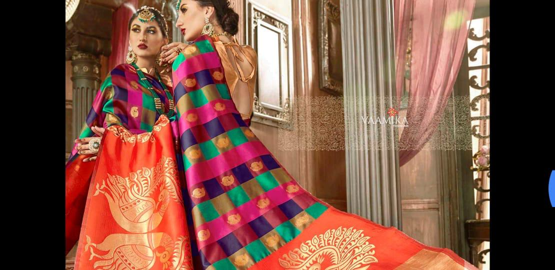 Vamika Heritage Silk Designer Partywear Sarees Wholesale