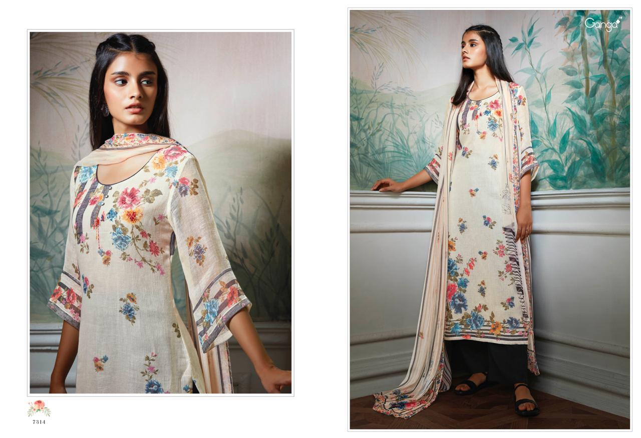 Ganga Hollis Pure Linen Printed Suits In Best Wholesale Rate