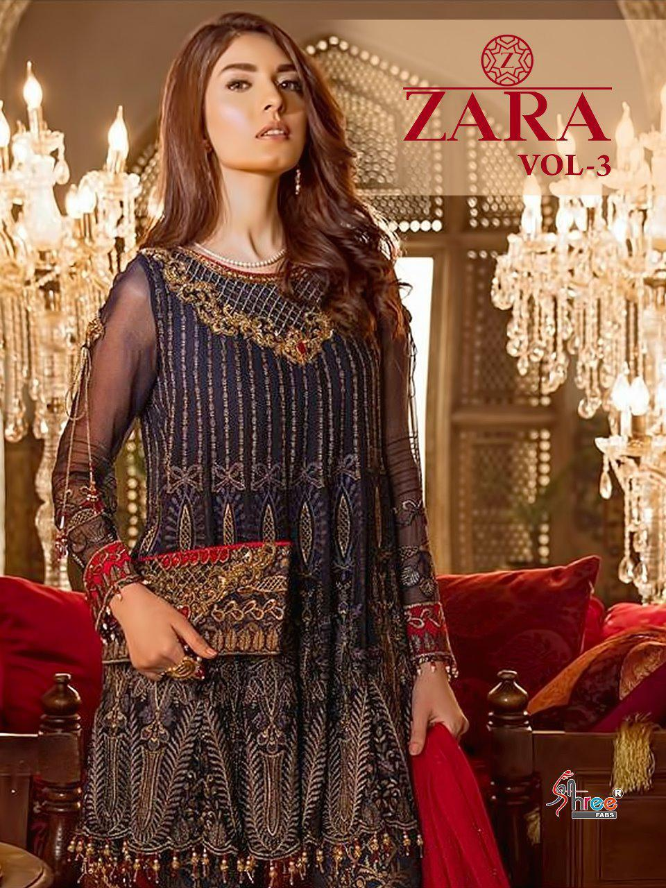 Shree Fab Zara Vol 3 Designer Georgette Suits Wholesale