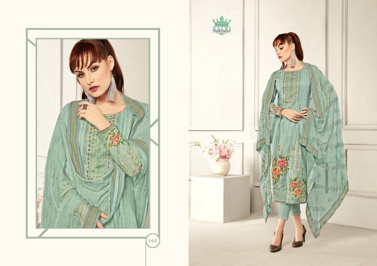 Kalki Azah Digital Print With Khatli Handwork Suit Wholesale