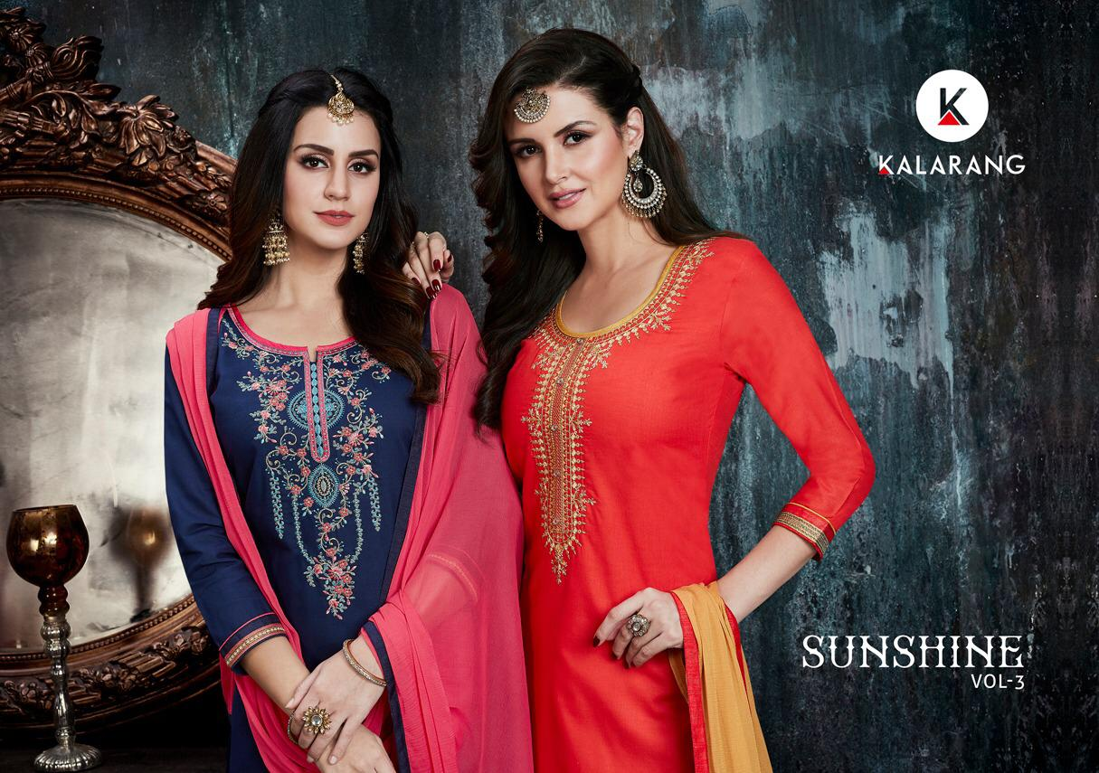 Kalarang Sunshine Vol 3 Designer Embroidary Suit Wholesale