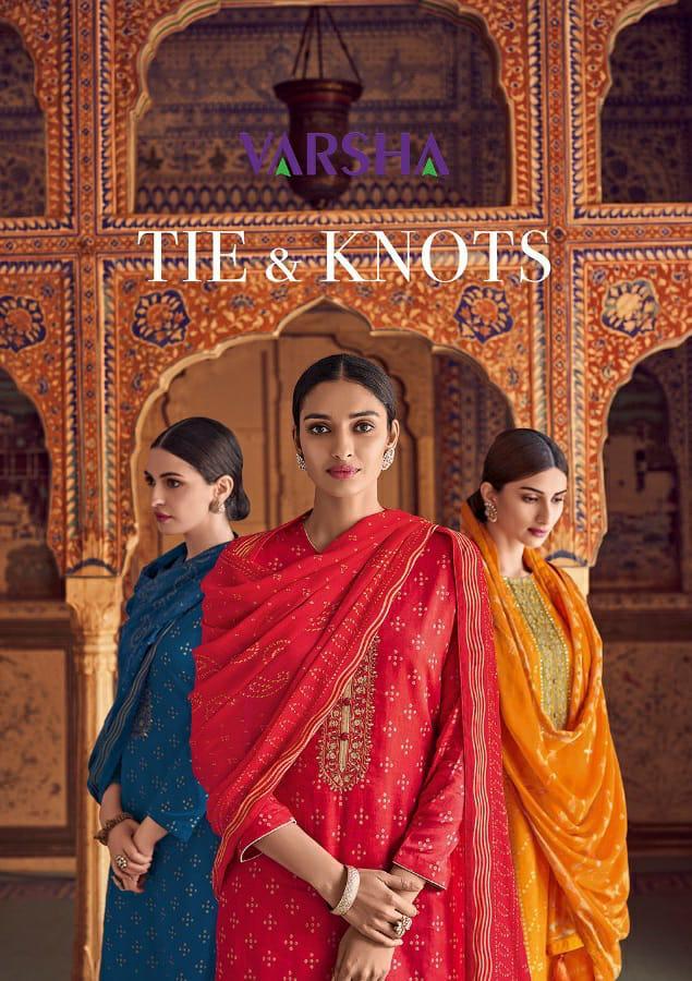 Varsha Fashion Tie & Knots Bandhni Suits Wholsale