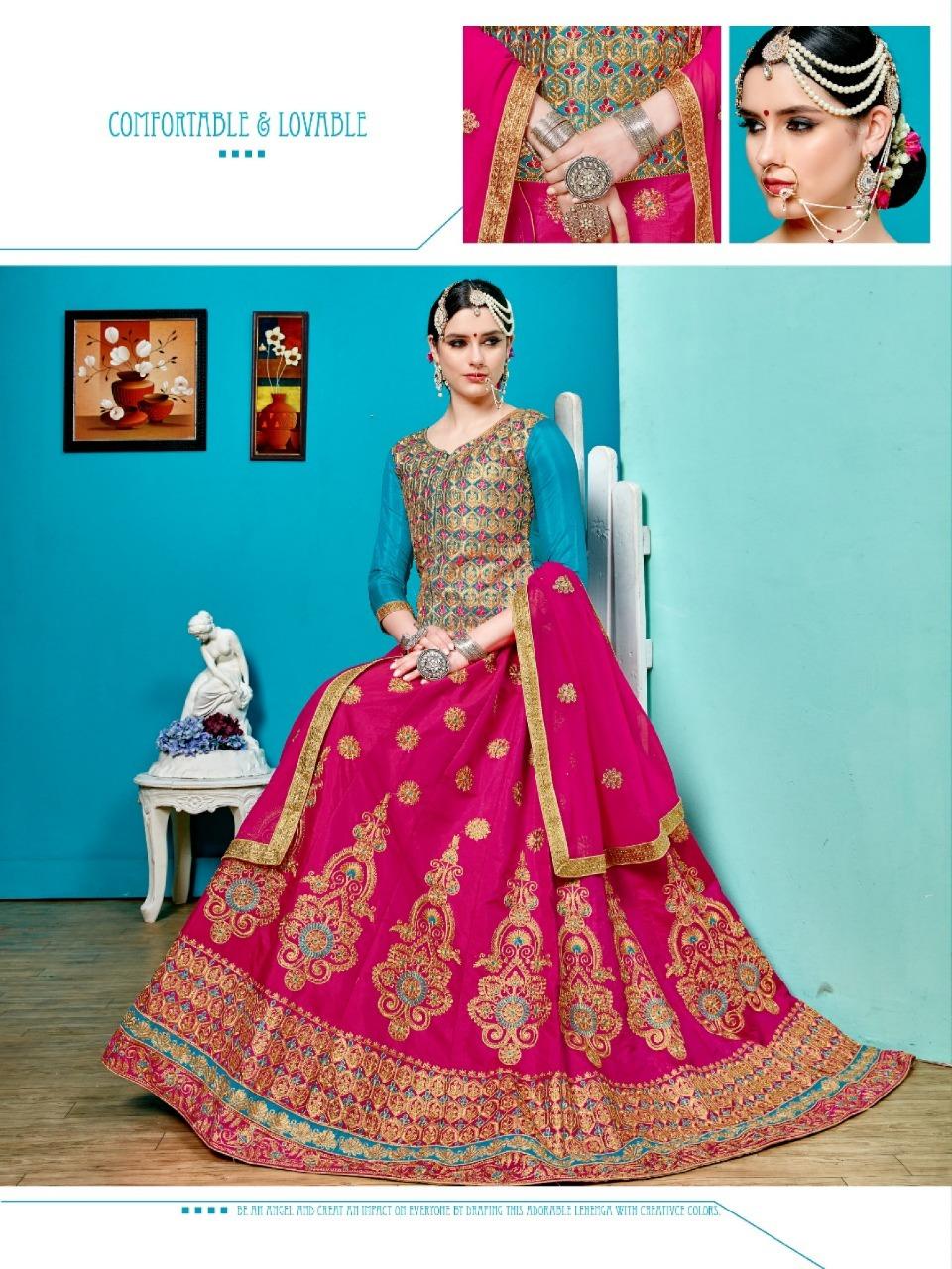 Sanskar Style Virasat Sworaski Work Silk Lehenga Wholesale