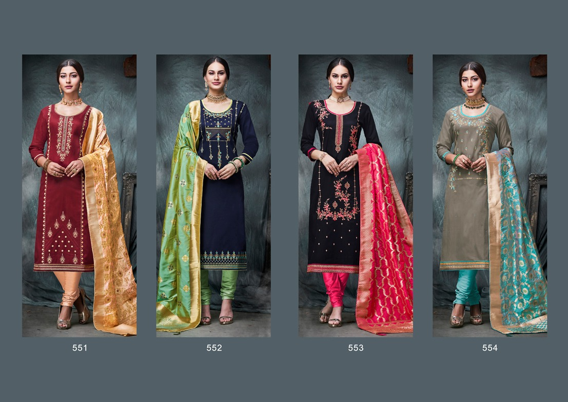 Kalarang Amiraat Silk Cotton With Embroidery Suits Wholsale
