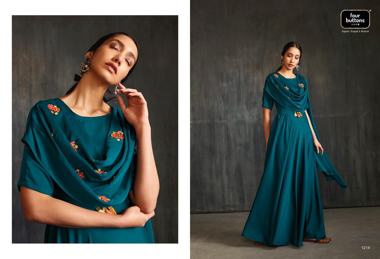 Four Buttons Drapes Embroidery With Handwork Suits Wholsale