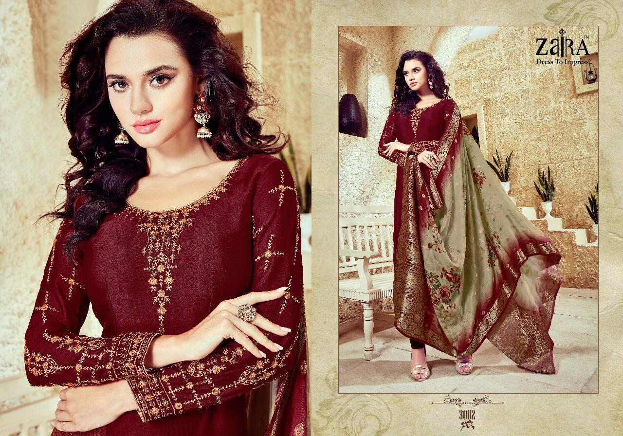 Zaira Nazakat Satin Georget With Embroidery Suits Wholsale
