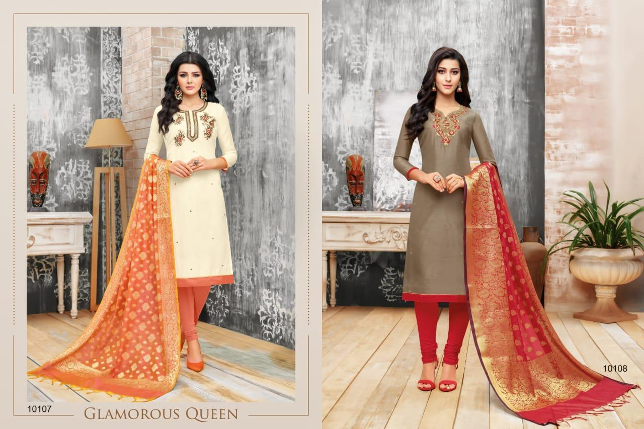 Heritage R R Fashion Silk Embroidery Handwork Suits Whosale