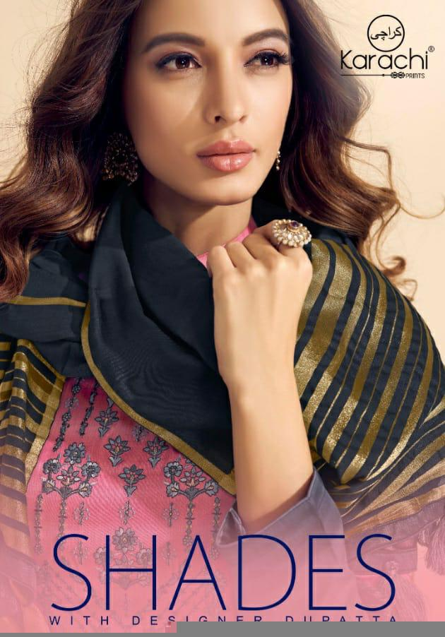 Karachi Prints Shades Silk With Embroidery Suits Wholsale
