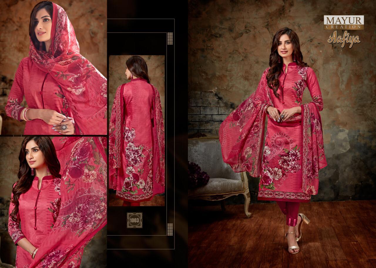 Mayur Creation Aafiya Designer Glaze Satin Cotton Suits Whol
