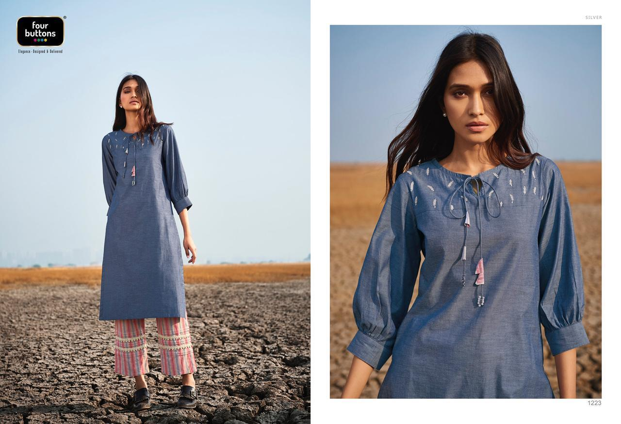 Four Buttons Silver New Stylies Kurti With Pants Wholsale