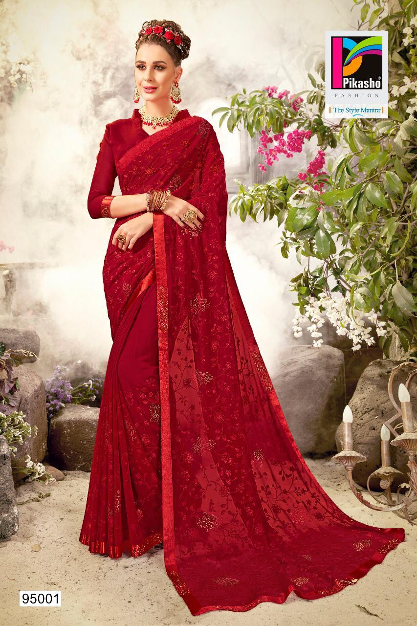 Pikasho Fashion Balika  Fancy Thread Work Saree Wholsale