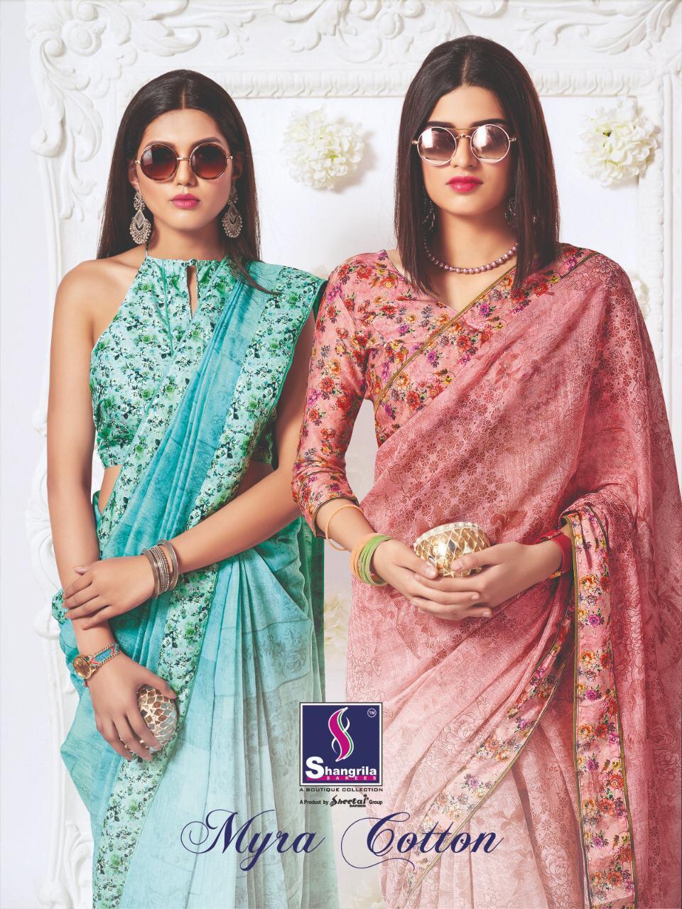 Shangrila Myra Print And Border Sarees Best Wholesale Rate