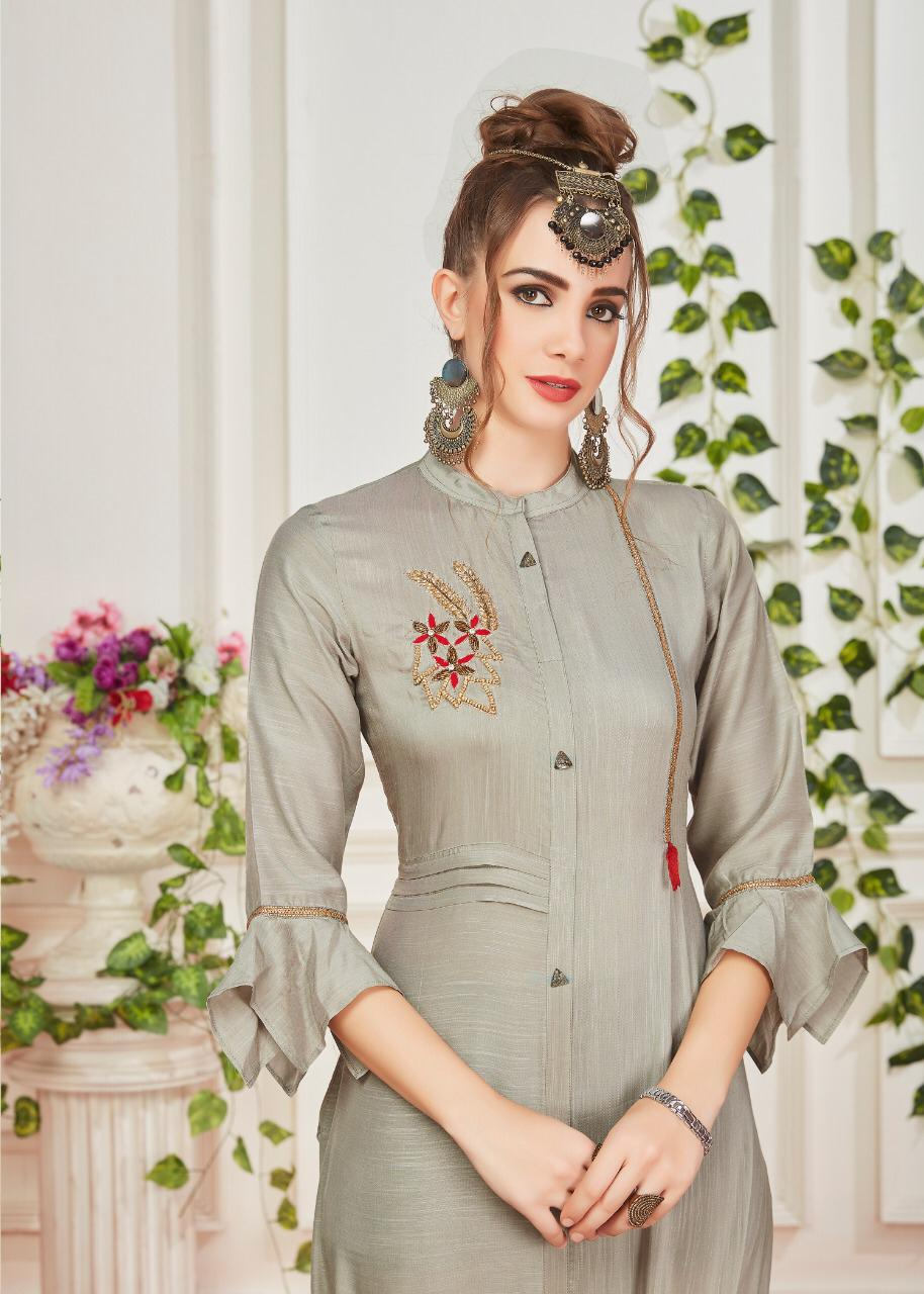 Dhanyawad Cut Dana Silk With Handwork Kurtis Wholesale