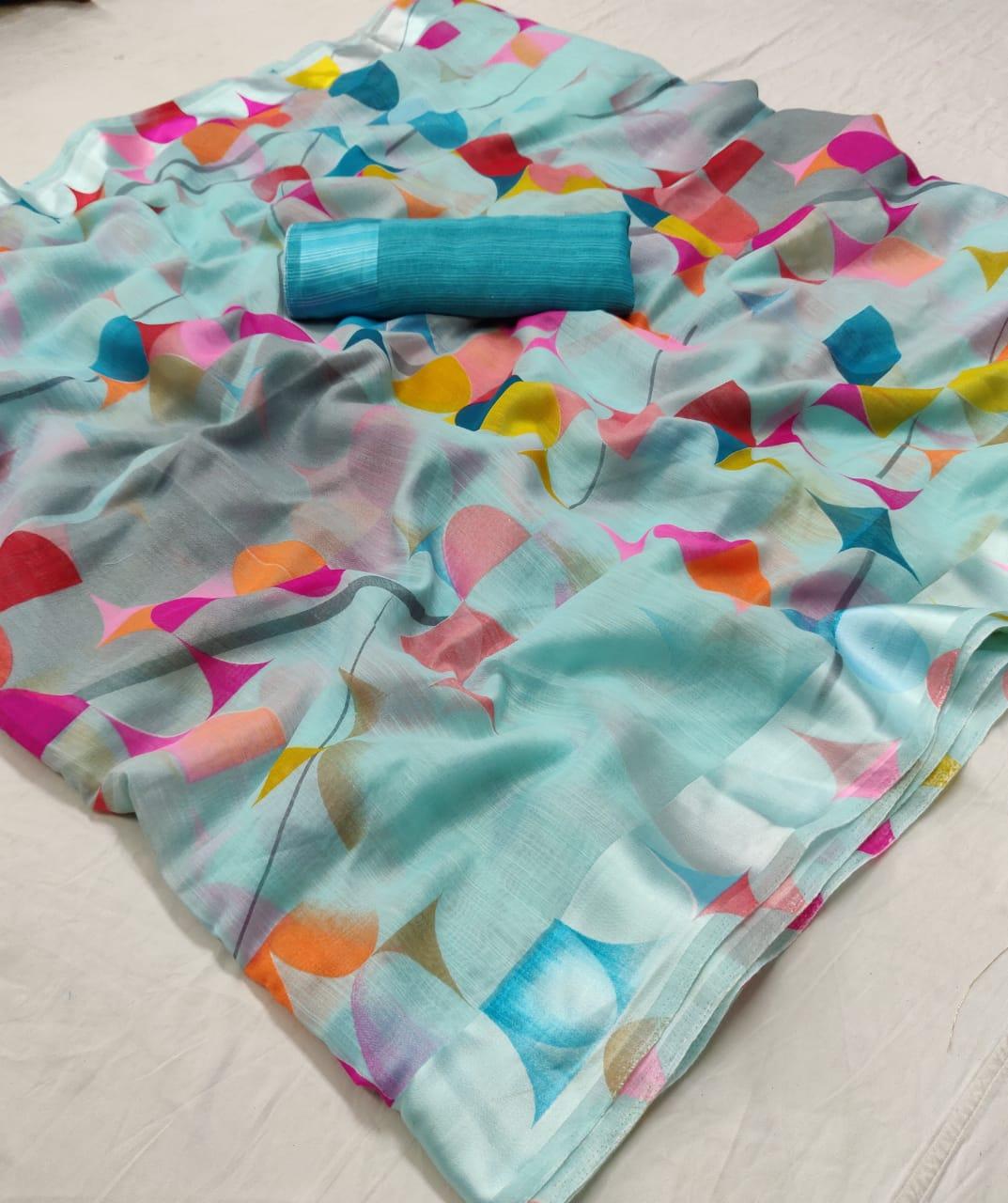 Lt Sarees Saffron Summer Collection Linen Saree Wholesale