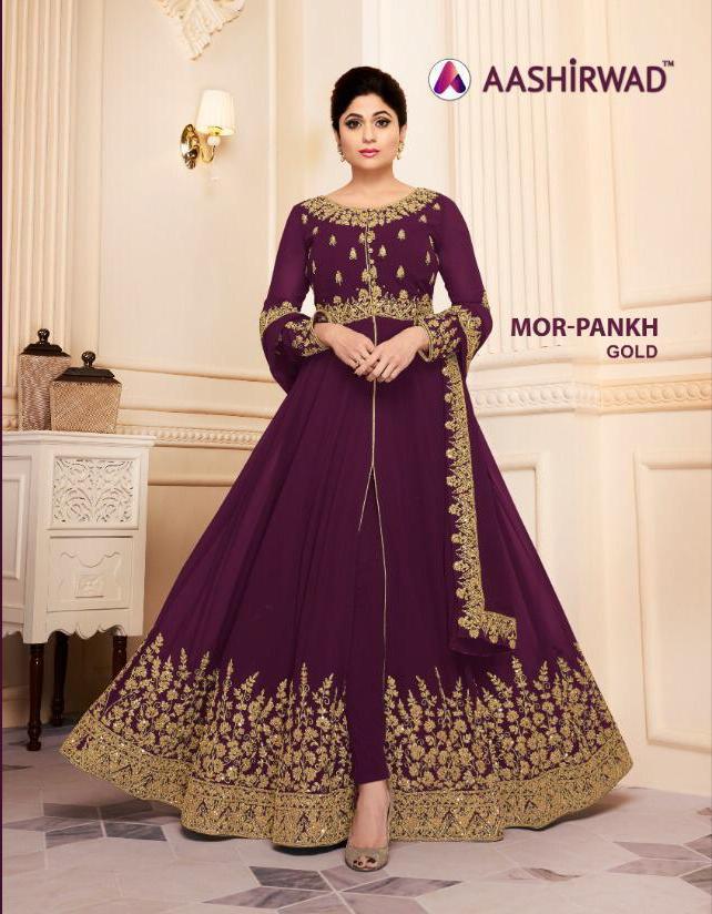 Aashirwad Mor Pankh Gold Georgette Wedding Suits Wholsale