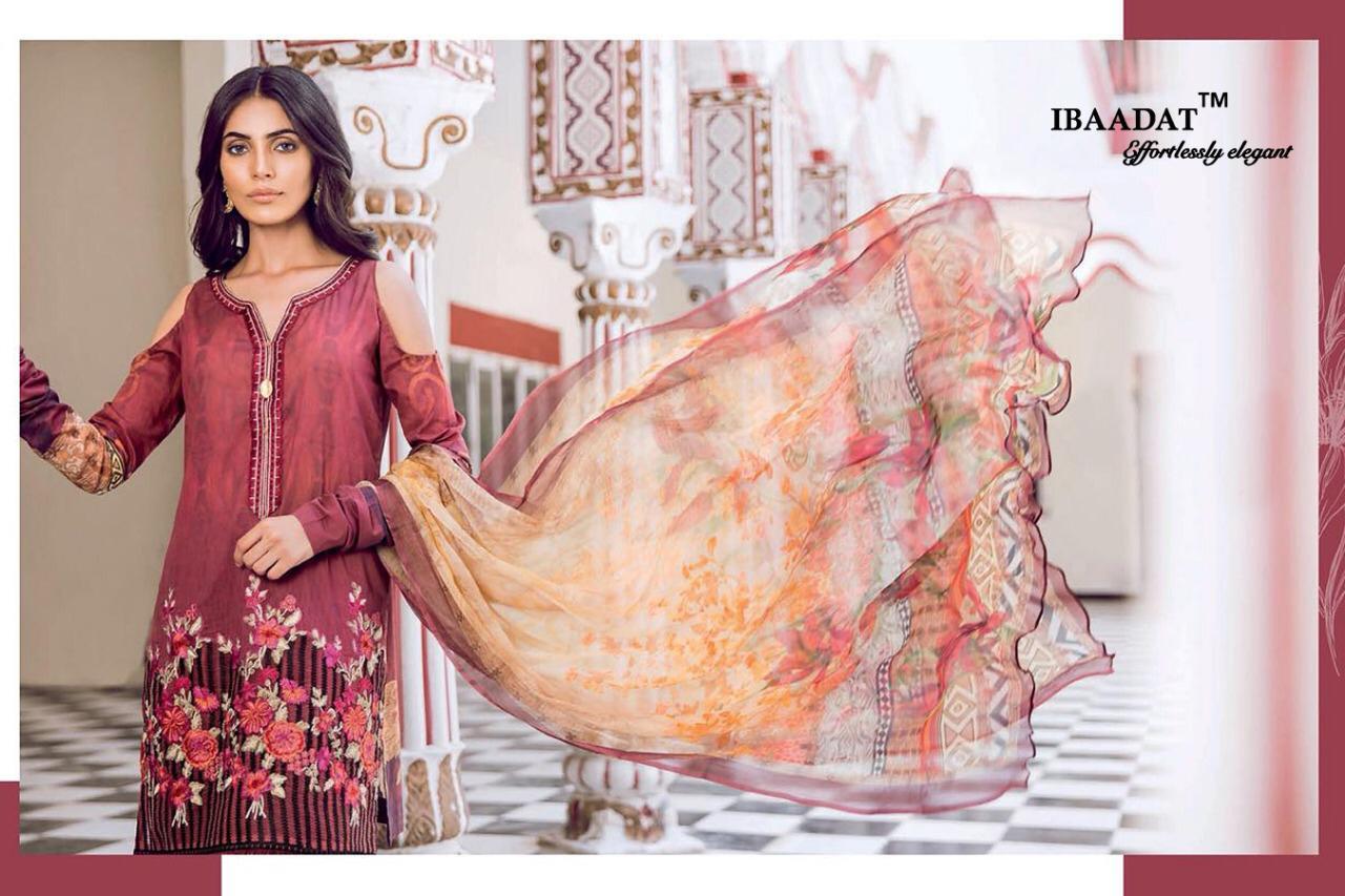 Ibaadat Khaas Vol2 Designer Digital Print Emb Suit Wholesale