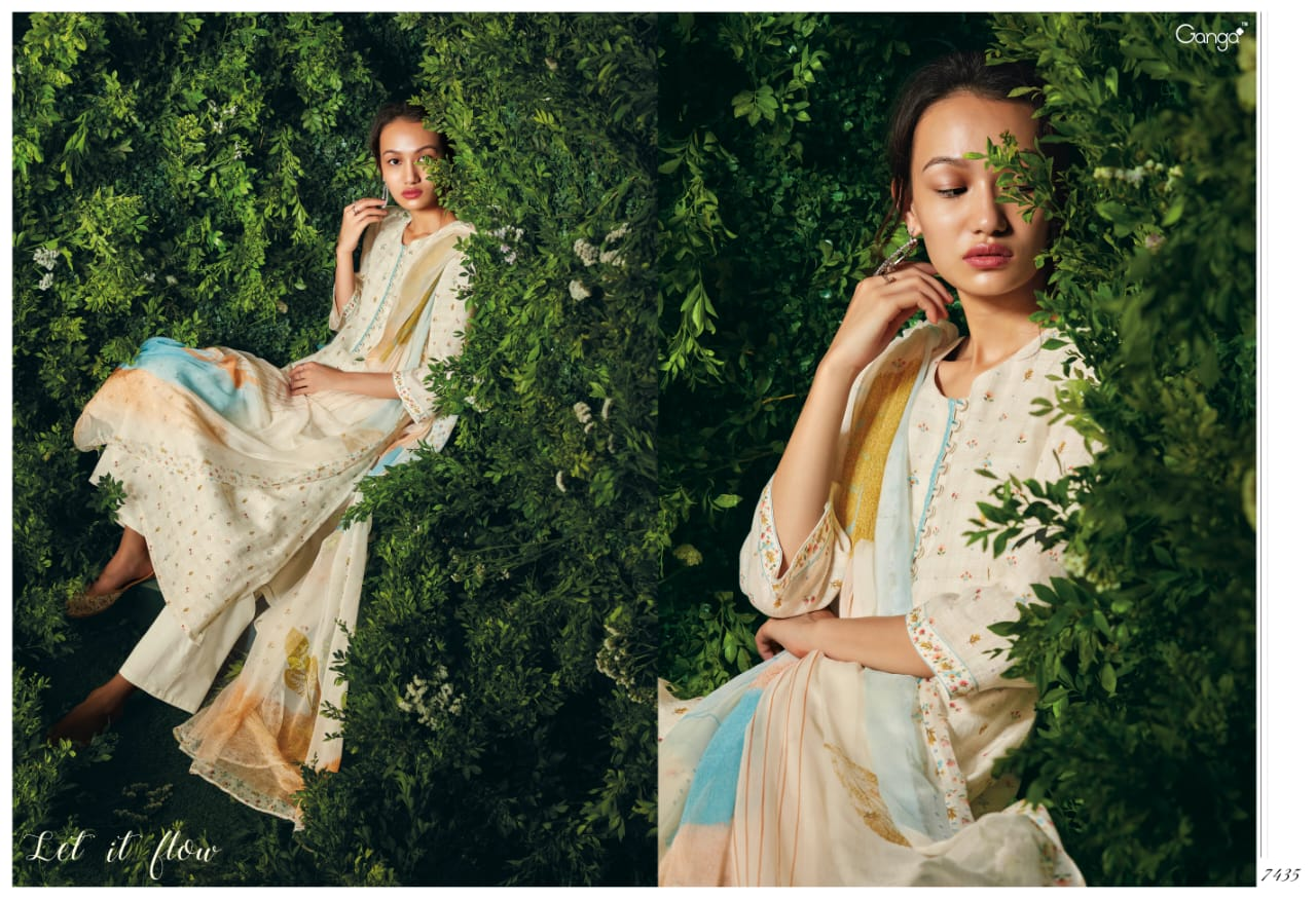 Ganga Let It Flow Linen Printed With Handwork Suits Wholesal