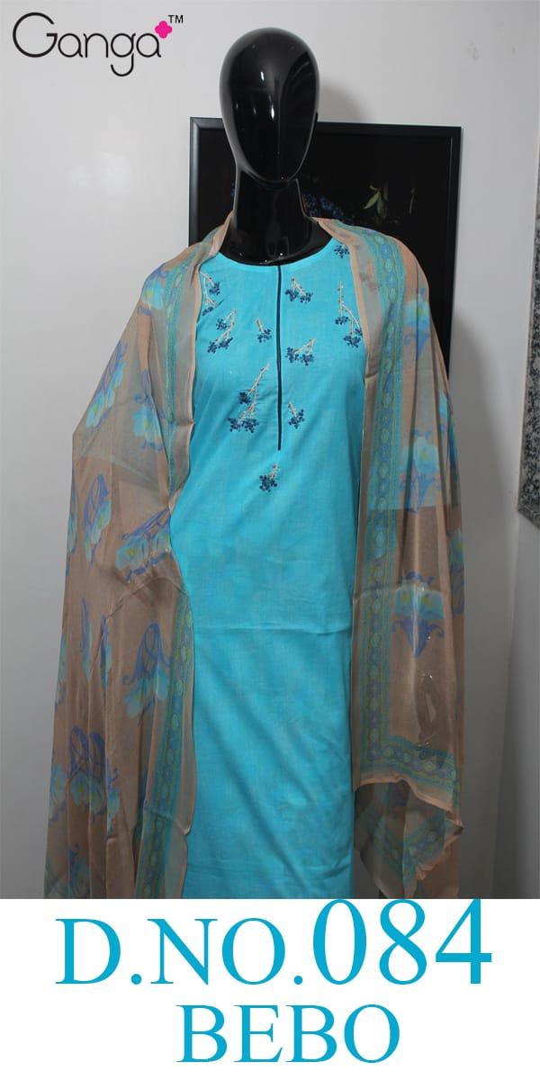 Ganga Bebo 84 Designer Cotton Emb Work Suit Wholesale