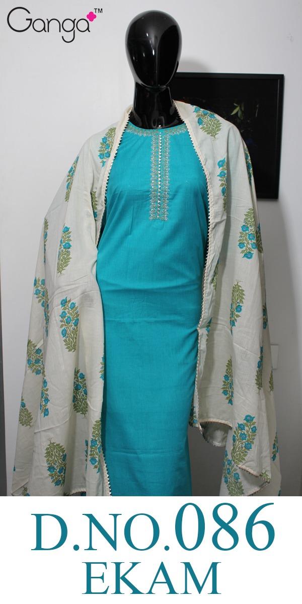 Ganga Ekam D No 086 Designer Cotton Suits Wholesale