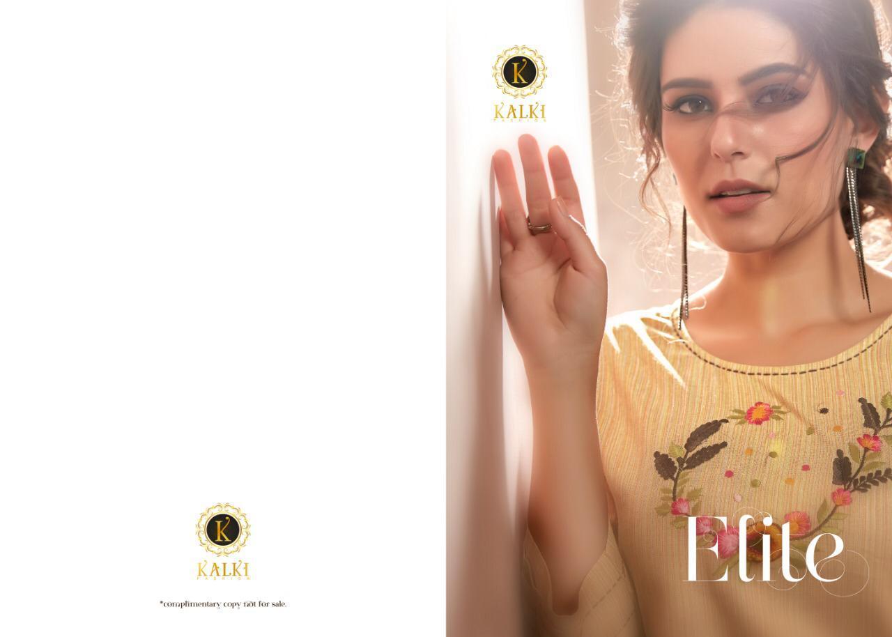 Kalki Elite Linen Cotton Designer Unnwork Kurti Wholesale