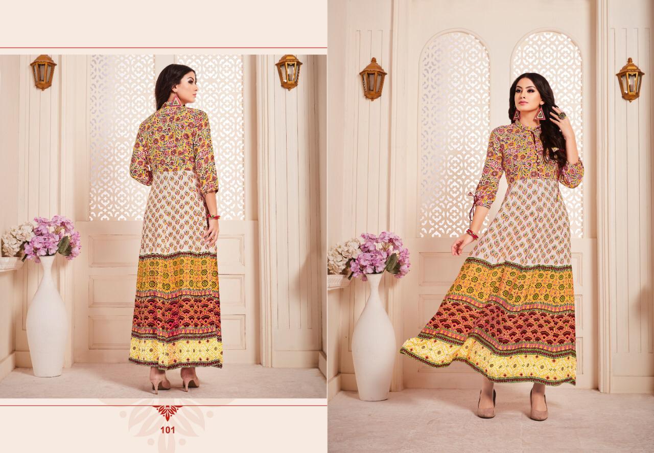 Lt Ravya Designer Gold Print Gown Pettern Kurtis Wholesale