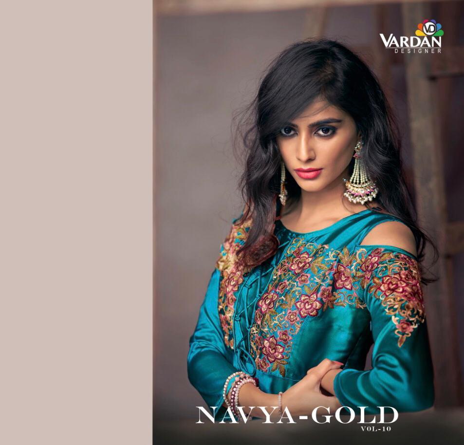 Vardhan Navya Vol 10 Gold Designer Partywear Gowns Wholesale