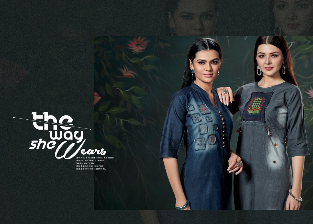 Vastra Moda Denim Vol1 Designer Cotton Denim Kurti Wholesale