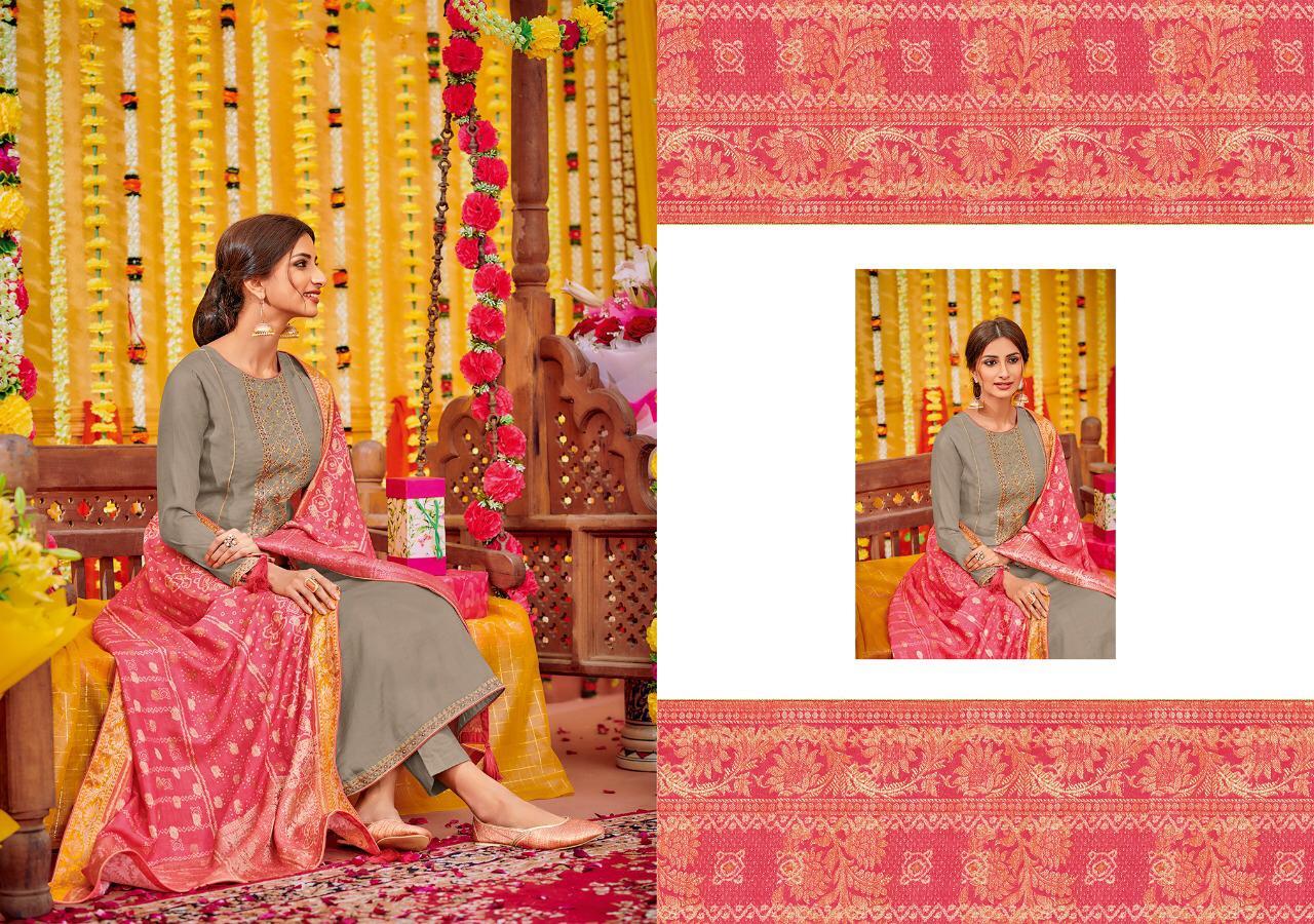 Varshaa Fashion Bandhej Designer Cotton Silk Suit Wholesale