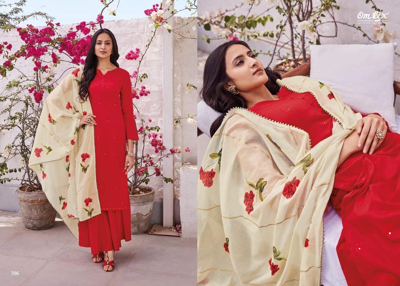 Omtex Gardenia Lawn Cotton Designer Suits Wholesale