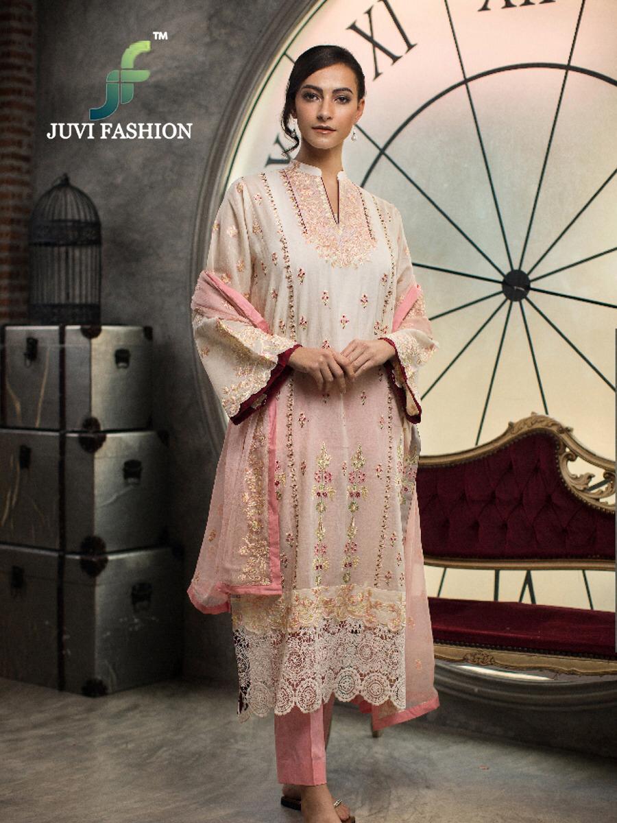 Juvi Fashion Crimson Designer Cotton Self Emb Suit Wholesale
