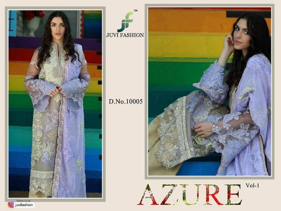 Juvi Fashion Azure Vol 1 Designer Organza Suit In Singles