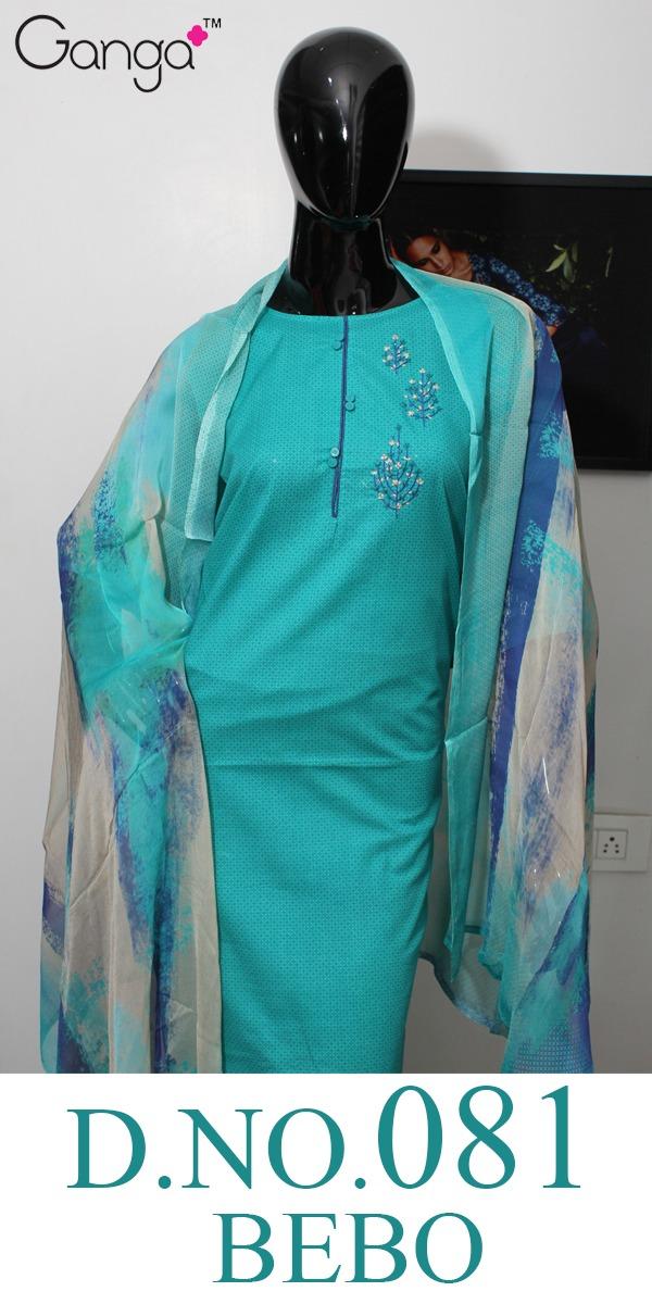 Ganga Bebo 081 Designer Cotton Emb Work Suits Wholesale