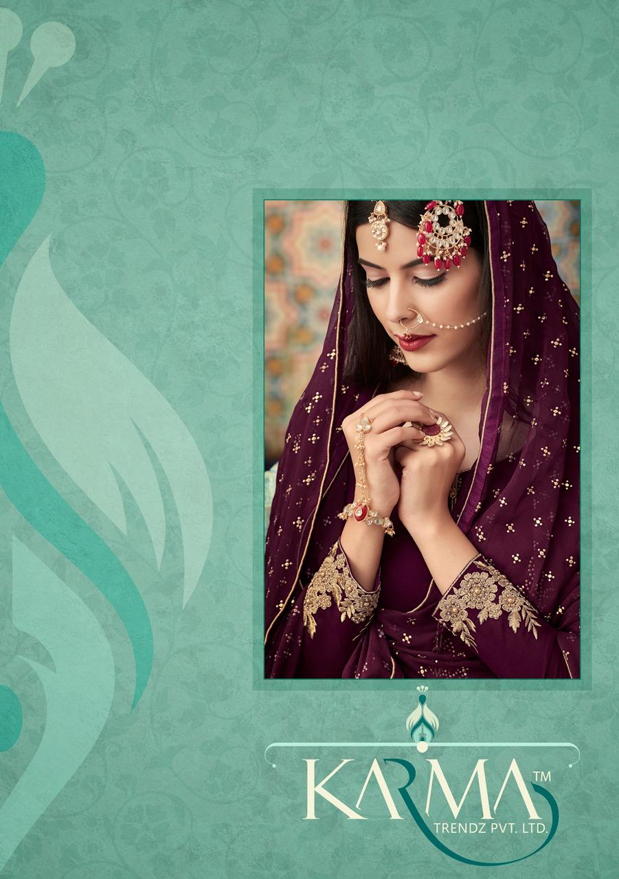 Karma Eid Special Dola Silk Emb Suits Bes Wholesale Rate